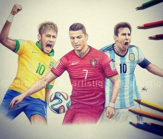 messi ronaldo neymar drawing