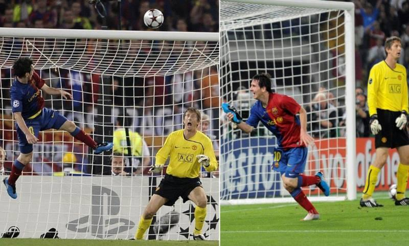 Messi's header vs Manchester United in 2009 Champions League final